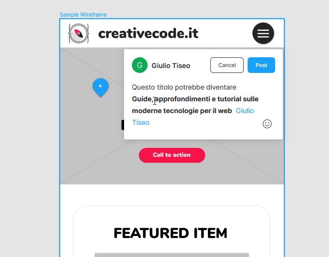 Fai click su un punto del tuo design, lascia la tua recensione o il tuo parere e tagga un tuo collaboratore