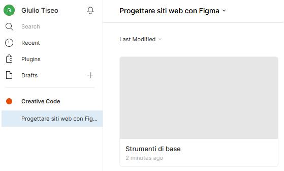 Vista dei files in nel progetto Figma