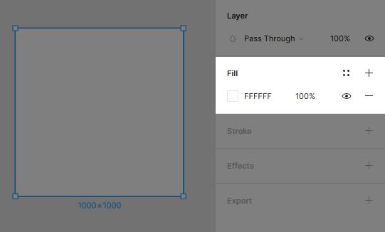 Cambiare il colore di riempimento di un Frame in Figma